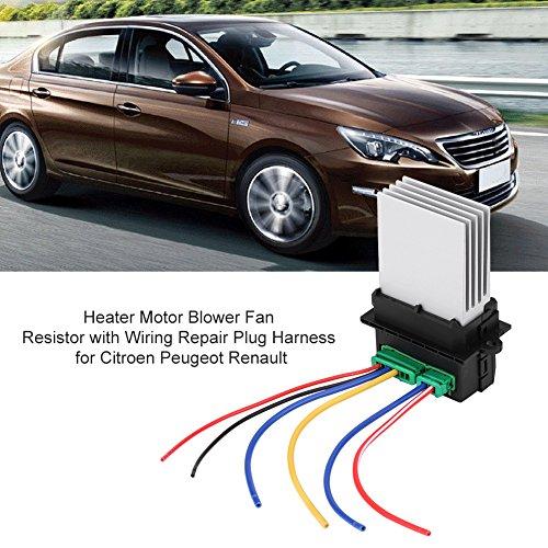 Resistencia del motor del ventilador del calefactor, resistencia del calentador + mazo de cables de 2 conectores para referencia 6441L2, 6441.L2, 7701048390, 7701207718
