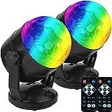 [2er-Pack] Fernbedienbare tragbare Sound-Aktivleuchten für Außen- und Innenbereiche, USB-Anschluss, DJ-Beleuchtung, RBG-Disco-Ball, Blitzlampe