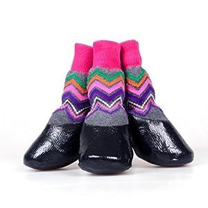 Hunpta pour animal domestique Chien mignon étanche Chaussures pour animal domestique Chien chaud Chaussettes Chien antidérapant Pet Chaussettes Chaussures