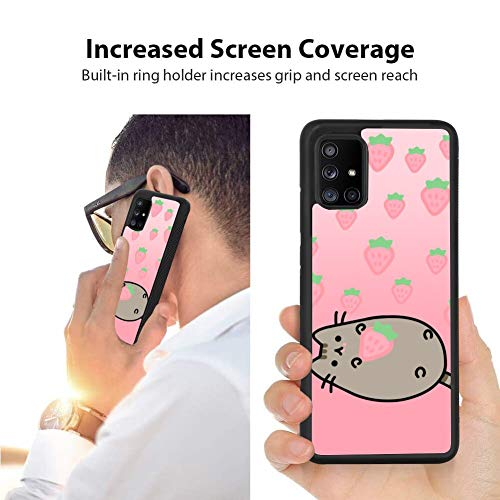 Galaxy A71 5G Case Strawberry_Pusheen Pattern Protective Slim Fit Cover,Soft TPU Edge Shockproof Protection