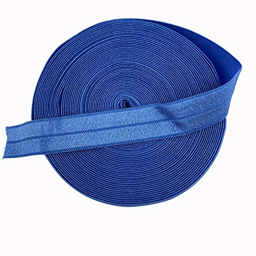Worlds Fold Over Elastic for Hair Ties DIY Crafts,Baby Girl Head Bow 10 Yards 5/8'Inch (Royal Blue)