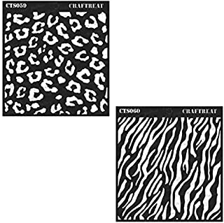 CrafTreat Stencil - Cheetah and Zebra (2 pcs) - Reusable Painting Template for Journal, Notebook, Home Decor, Crafting, DIY Albums, Scrapbook and Printing on Paper, Floor, Wall, Tile 6x6 inches