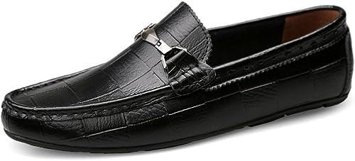 CHENDX Chaussures, Mocassins de Conduite décontractée décontractée Confortable pour Hommes Glissent sur des Chaussures de fainéants de Conduite (Couleur   Noir, Taille   39 EU)