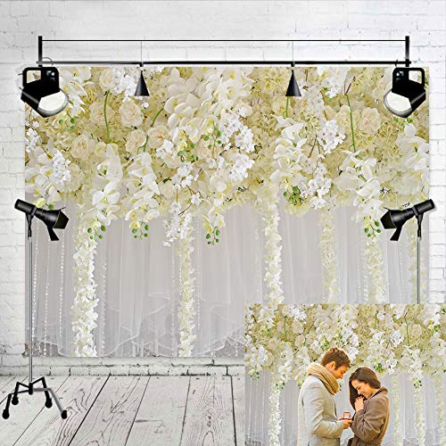 White Flower Backdrop Curtain Floral 3d flower Wedding Party Background Photo Backdrop for wedding reception Baby shower Photo Booth Props