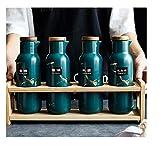 Ykun Set di scatole di spezie, Barattolo di condimento in Ceramica per Uso Domestico, scuotitore di Sale in Vaso per Olio, Forniture per la Cucina-Set di Quattro Pezzi Verde