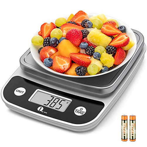 1byone 11lb Digital Food Kitchen Scale Weight Grams and oz for Cooking Baking, 1g/0.1oz Precise