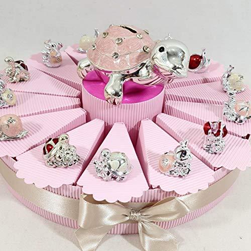 bomboniere Animali argentati a Torta bomboniere per Nascita, Battesimo,Compleanno, Comunione Femmina. Torta con fette + Confetti + Oggetti + salvadanaio ... (Torta 14 fette 1piano *