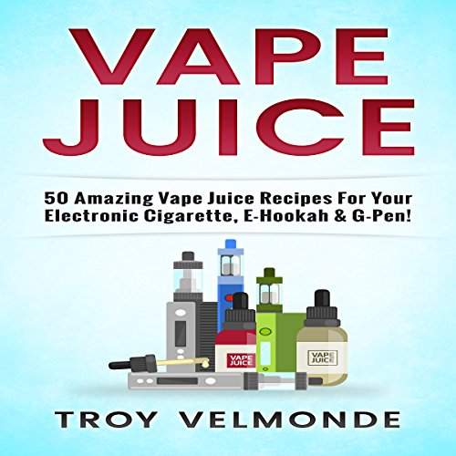 Vape Juice     50 Amazing Vape Juice Recipes for Your Electronic Cigarette, E-Hookah & G-Pen!              By:                                                                                                                                 Troy Velmonde                               Narrated by:                                                                                                                                 Jim D Johnston                      Length: 1 hr and 10 mins     Not rated yet     Overall 0.0