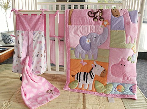 Elephant Zebra Giraffe Hippo Turtle Nursery Crib Bedding Set 9 PCs Pink Cartoon Animals Baby Bedding Set with Diaper Stacker & Blanket for Baby Girl