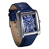 JewelryWe Reloj Azul para Hombre Relojes de Caballero, Reloj Cuadrado Retro Vintage Original, Cuarzo Reloj con Calendario de Estilo Buen Regalo 2017