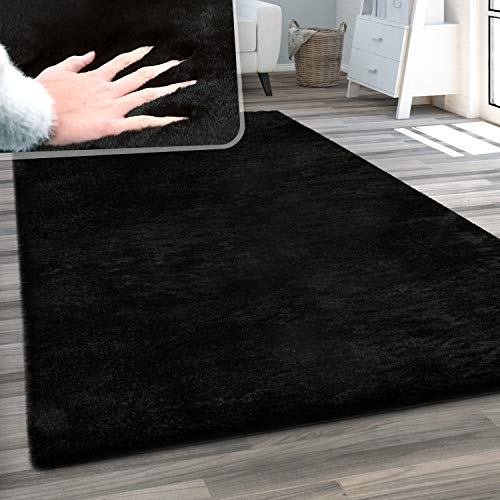 Paco Home Tapis De Salon Fausse Fourrure Peluche Tapis Shaggy Long Lavable Divers Couleurs, Dimension:140x200 cm, Couleur:Noir