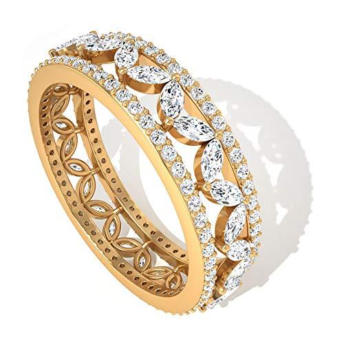 Anillo de boda de 1,46 ct con certificado IGI de marquesa, con diamantes, grabado floral, para novia, para mujer, vintage, floral, 10K Oro amarillo, Size:EU 45