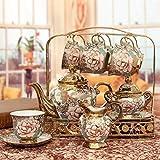 Ninguno/marca creativa europeo-estilo té conjunto de cerámica taza café conjunto europeo retro té set 250ml taza, 1100ml café pote