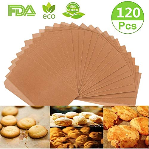 Parchment Paper Cookie Baking Sheets, 120 PCS Precut Non-Stick & Unbleached,No Curl or Burn, Non-Toxic & Comes in Convenient Packaging for Cook, Grill, Steam, Pans, Air Fryers (BOXED)