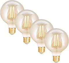 WiZ Smart Tunable Whites LED Filament Globe - G95 E27 Amber Glass - 720lm - Pack of 4 - 2000K~4500K - WiFi - No Hub Requir...