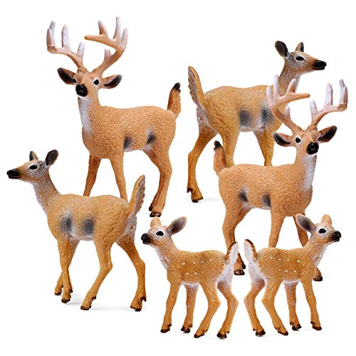 RESTCLOUD Deer Figurines Cake Toppers, Deer Toys Figure, Small Woodland Animals Set of 6