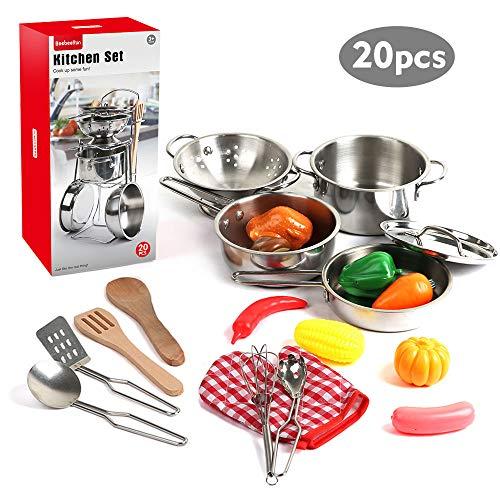 BeebeeRun 20 Pezzi Kit da Cucina Set Utensili da Cucina in Acciaio Inox Chef Set da Cucina Giocattolo per Bambini Pretend Utensili da Gioco Pentole e padelle Giocattoli Ragazzi e Ragazze
