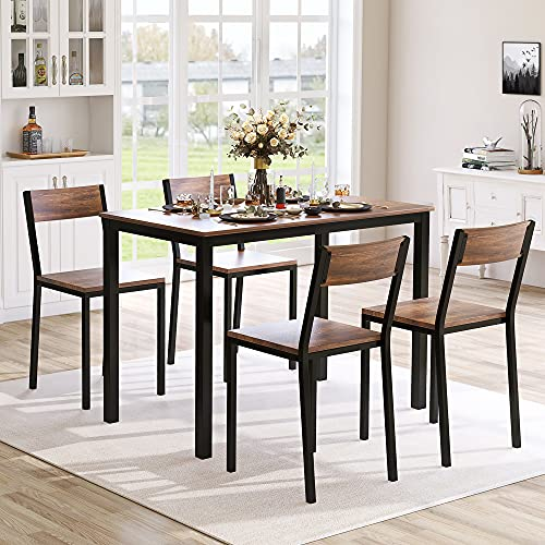 Dining Table and Chairs Set 4, Wooden Table and 4 Stools For Kitchen Dining Room Furniture,105 x 60 x 76 cm,Rustic Brown + Black