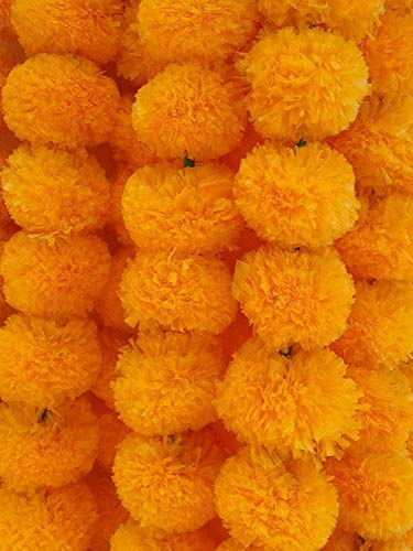Indian Light Orange Garlands Party Decorations Photo Drop Decorations Artificial Marigold Flower Strings Wedding Party House Warming and Christmas Home Decoration Diwali Indian Festival (5 pcs)