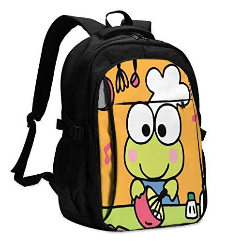 DJNGN Hi Kero Kero Keroppi Backpack Personality with USB Backpack Laptop Bag Waterproof Travel Daypack for School