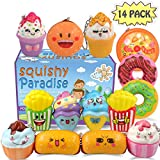 POKONBOY Squishies Donut Squishy Toys, 14 Pack Food Squishies Kawaii Cute Donuts & Ice Cream & Pizza Slow Rising Creamy Scent Stress Relif Squishies Pack Party Favors Decorative with Key Chain
