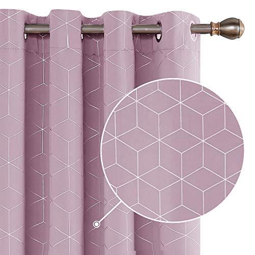 Deconovo Cortinas Salon Modernas Termicas Aislantes Dormitorio Decoración Ventanas para Habitacion con Ojales 132 x 183 cm Rosa Claro