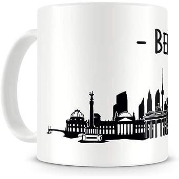 Samunshi® Berlin Skyline Tasse Kaffeetasse Teetasse H:95mm/D:82mm weiß