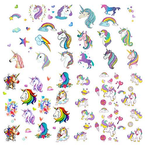 Oblique Unique® Einhorn Kinder Tattoo Set 60 Stück Farbenfrohe Temporäre Einhörner Tattoos zum Spielen Spielspass für Mädchen zum Kindergeburtstag