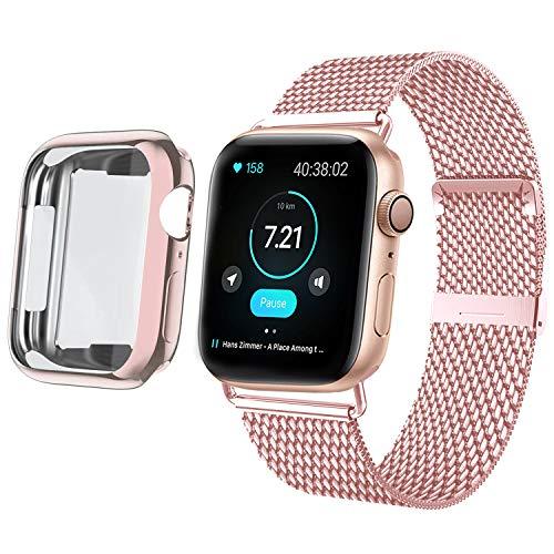 HILIMNY Cinturino con Protettiva Cover per Apple Watch 38mm 40mm 42mm 44mm, Acciaio Inossidabile Ricambio Cinturini con Custodia Protezione per iWatch Serie 5/4/3/2/1