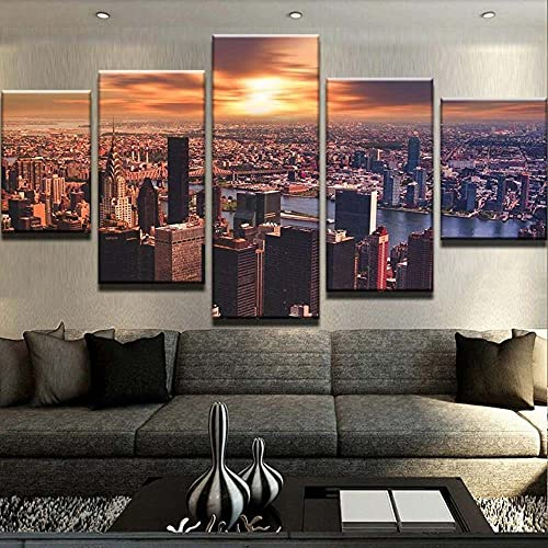 KOPASD 5 Pieces Große Apfel-Sonnenunterganglandschaft Wall Art Painting The Picture Print On Canvas Animal Art Pictures for Home Office Modern Decoration