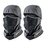 AstroAI Ski Mask Balaclava for Men & Women Windproof Breathable Face Mask for Cycling Motorcycle 2 Pack (Superfine Polar Fleece, Grey)