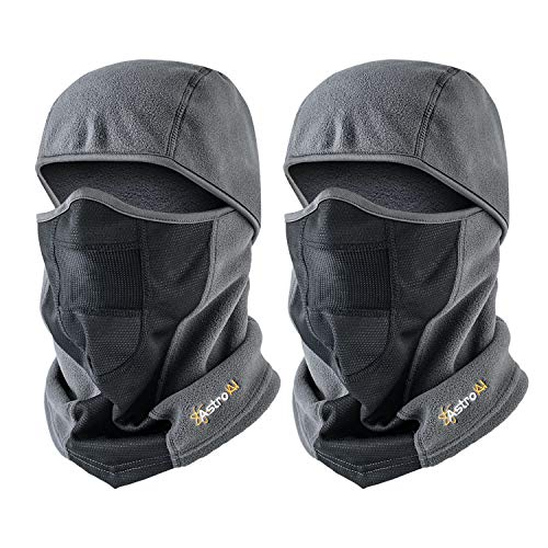 AstroAI Ski Mask Winter Balaclava for Cold Weather Windproof Breathable Face Mask for Men Women Skiing Snowboading & Motorcycle Riding, Grey (2Pack)