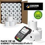 Lot de 50 bobines de papier thermique sans BPA pour terminal carte bleue - Dimension 57x40x12 mm - Bobines pour TPE