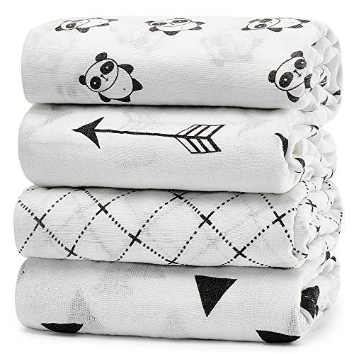 KiddyCare Baby Swaddle Blankets Unisex Swaddle Wrap Silky Soft Bamboo Muslin Swaddle Blanket - Swaddles for Baby Boy and Girl - Large 47
