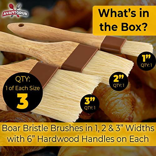 Restaurant-Grade Boar Hair Pastry and Basting Brush Set of 3 (1, 2 and 3 Inch). Ultra-Fine Hardwood Flat Brushes for Spreading Butter, Egg Wash or Marinade to Pastries, Dessert, Bread Dough or Meat