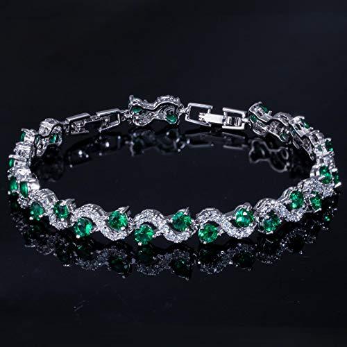 Pulsera para las mujeres de lujo color plata rosa rojo cristal piedra mujeres pulseras brazaletes con zirconia cúbico joyería verde