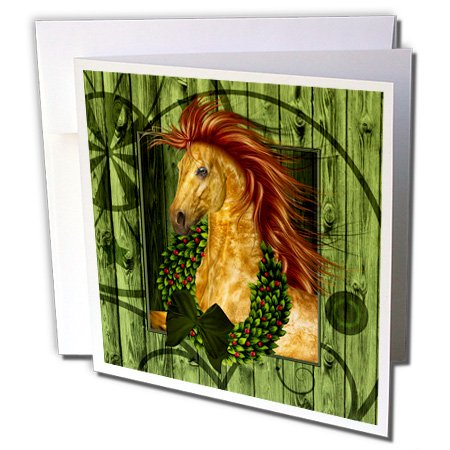 3drose Western Kerstmis paard met krans en barn hout - kaarten, 15,2 x 15,2 cm, set 12 (GC 164738 2)