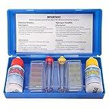 lzndeal Kit Teste d'eau Piscine - Trousse d'analyse d'eau Piscine - Test Kit Chlore et pH Testeur - Kit d'Accessoires pour Piscine - Set PH Chlore Kit de Test de Qualité de l'eau Hydrotool