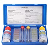 ZREAL Kit Teste de Agua Piscina–Estuche Escolar de análisis de Agua Piscina–Test Kit Cloro PH comprobador–Kit de Accesorios de Piscina–Set PH Cloro Kit de Prueba de Calidad del Agua hydrotool