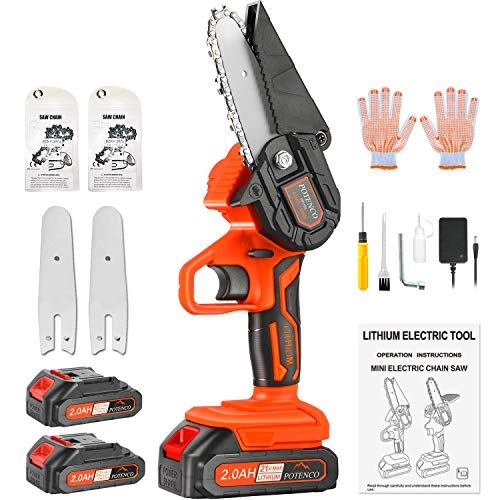 POTENCO Mini Chainsaw, 2.0Ah Battery Powered Electric Chainsaw with Security Lock, 4-Inch Mini Chainsaw Cordless for Tree Branch Wood Cutting (Incl. 2x Battery,2x Chain,2x Guide Bar)