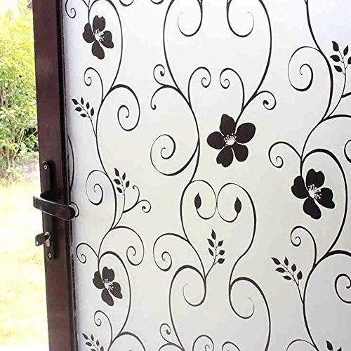 Fensterfolie, selbstklebende Sichtschutz-Fensterfolie, Milchglas-Aufkleber, dekorative Glas-Fensterfolie für Zuhause, Mietwohnung (60 x 200 cm, schwarz)
