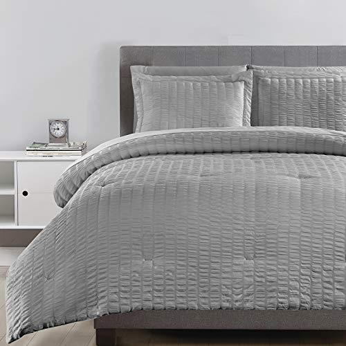 CozyLux Queen Bed in a Bag Light Grey Seersucker Comforter