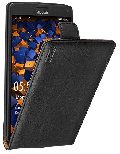 mumbi Echt Leder Flip Hülle kompatibel mit Microsoft Lumia 950 XL Hülle Leder Tasche Hülle Wallet, schwarz