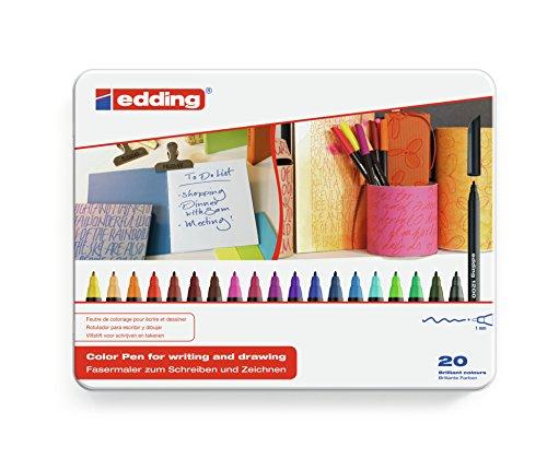Edding 4-1200-20 - Rotuladores de colores (punta de fibra, 20 unidades)