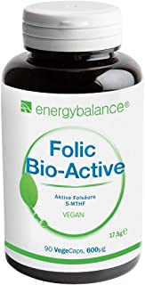 EnergyBalance Folic Acid 90 Capsules à 600µg 5-MTHF Folic Acid - Para Aumentar la Absorción
