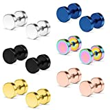 Ruifan 18G Mix Color Stainless Steel Mens Womens Faux Gauges Ear Plugs Tunnel Earrings Stud 6mm 6Pairs