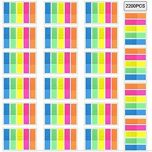 Faburo 2200 Piezas Marcadores adhesivos, Notas etiquetas adhesivas de papel, Marcador de Página, Adhesivo personalizado…