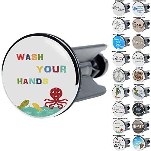 Waschbeckenstöpsel mit Sprüchen | große Auswahl | passend für alle handelsüblichen Waschbecken (Wash Your Hands)