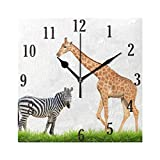 senya Wall Clock, Round African Zebra Giraffe Clock Innovative Silent Non-Ticking Decorative Wall Clock for Living Room, Bedroom, Home, Office Battery Operated