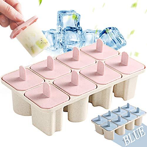 Eisformen 8 Weizenstroh Buchstaben Eisform Popsicle Formen Set, DIY Ice Pop Lolly Popsicle Eisförmchen Wiederverwendbar Popsicle Sticks, Mini Eisform für Kinder, Baby (Rosa)